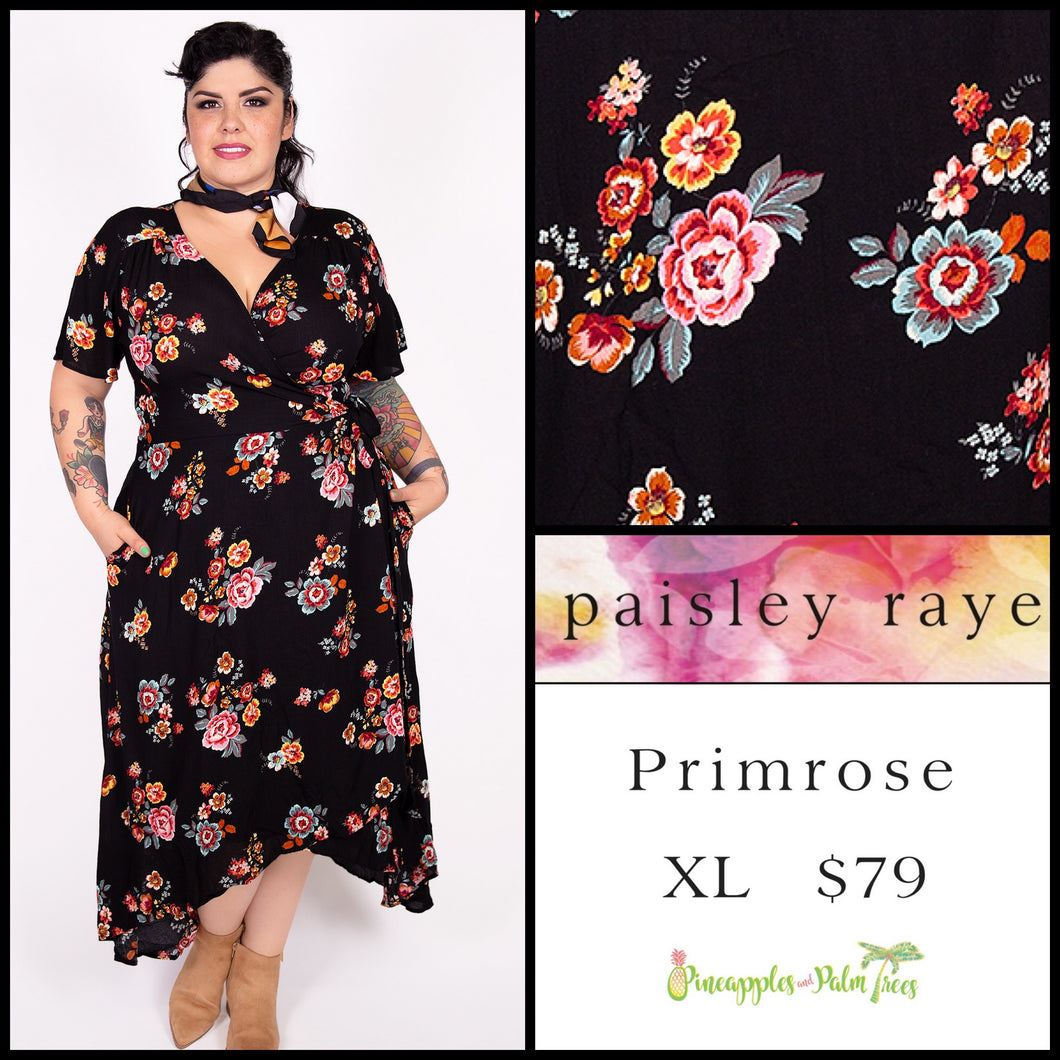Paisley Raye Primrose XL black floral, shop this Paisley Raye Primrose Dress and more at pineapplesandpalmtrees.net or locally in the Twelve Bridges Community of Lincoln, California.