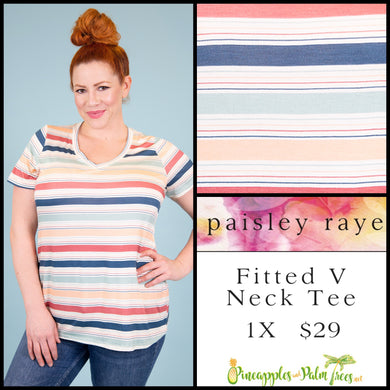 Paisley Raye Fitted V-neck tee, 1X multi Colored washed out stripes, shop these Paisley Raye Fitted V-Neck Tee and more at pineapplesandpalmtrees.net or locally in the Twelve Bridges Community of Lincoln, California.