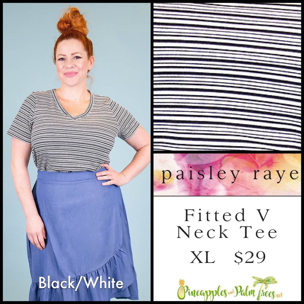 Paisley Raye Fitted V-neck tee, XL Black/white stripes, shop these Paisley Raye Fitted V-Neck Tee and more at pineapplesandpalmtrees.net or locally in the Twelve Bridges Community of Lincoln, California.