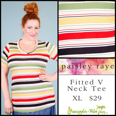 Paisley Raye Fitted V-neck tee, XL multi colored bright stripes, shop these Paisley Raye Fitted V-Neck Tee and more at pineapplesandpalmtrees.net or locally in the Twelve Bridges Community of Lincoln, California.