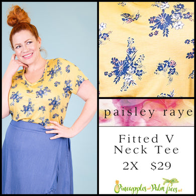 Paisley Raye Fitted V-neck tee, 2X lemon with blue floral, shop these Paisley Raye Fitted V-Neck Tee and more at pineapplesandpalmtrees.net or locally in the Twelve Bridges Community of Lincoln, California.