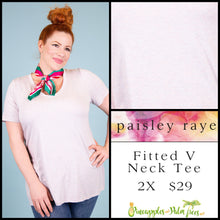 Load image into Gallery viewer, Paisley Raye Fitted V-neck tee, 2X soft heathered pink, shop these Paisley Raye Fitted V-Neck Tee and more at pineapplesandpalmtrees.net or locally in the Twelve Bridges Community of Lincoln, California.