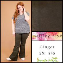 Load image into Gallery viewer, Paisley Raye Ginger, kick flair pant, 2X solid Olive, shop this Paisley Raye Ginger Pant and more at pineapplesandpalmtrees.net or locally in the Twelve Bridges Community.Lincoln, California.