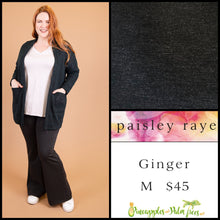 Load image into Gallery viewer, Paisley Raye Ginger, kick flair pant, M solid charcoal, shop this Paisley Raye Ginger Pant and more at pineapplesandpalmtrees.net or locally in the Twelve Bridges Community.Lincoln, California.
