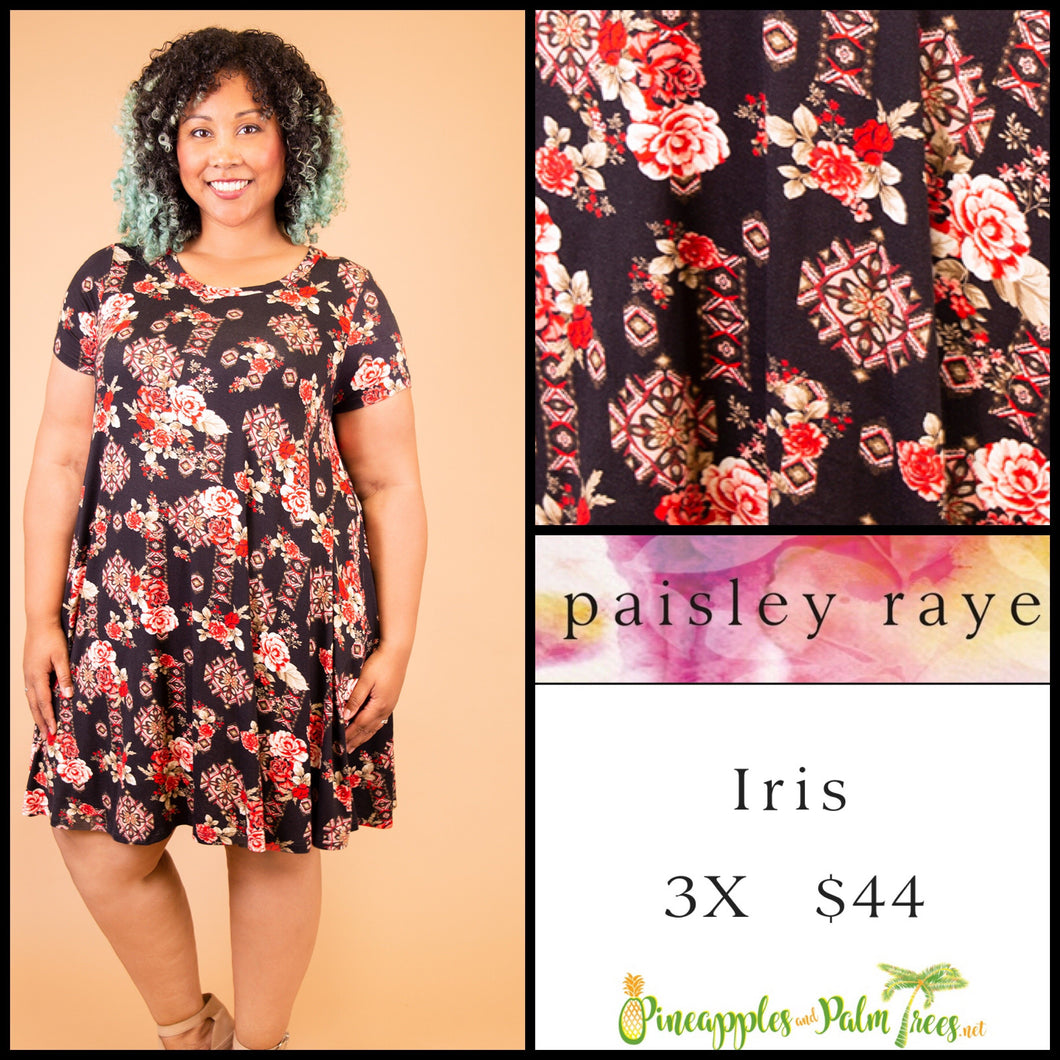 Paisley Raye Iris easy swing dress with scoop neck, pockets and keyhole back detail, 3X Black Floral, shop this Paisley Raye Iris Dress and more at pineapplesandpalmtrees.net or locally in the Twelve Bridges Community of Lincoln, California