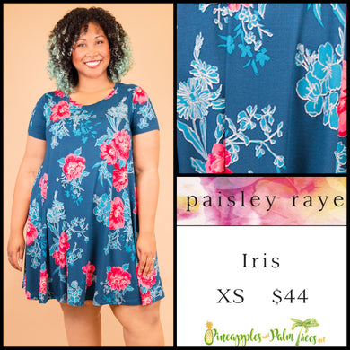 Paisley Raye Iris easy swing dress with scoop neck, pockets and keyhole back detail, XS Blue Floral, shop this Paisley Raye Iris Dress and more at pineapplesandpalmtrees.net or locally in the Twelve Bridges Community of Lincoln, California