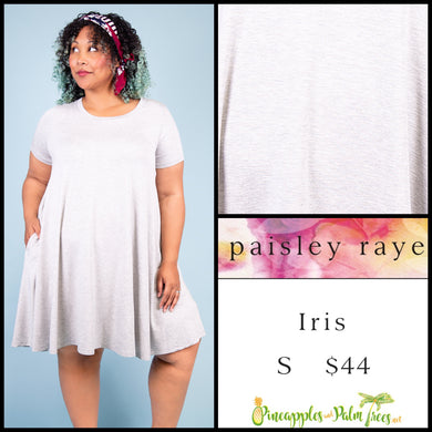 Paisley Raye Iris easy swing dress with scoop neck, pockets and keyhole back detail, S Heathered Gray solid, shop this Paisley Raye Iris Dress and more at pineapplesandpalmtrees.net or locally in the Twelve Bridges Community of Lincoln, California