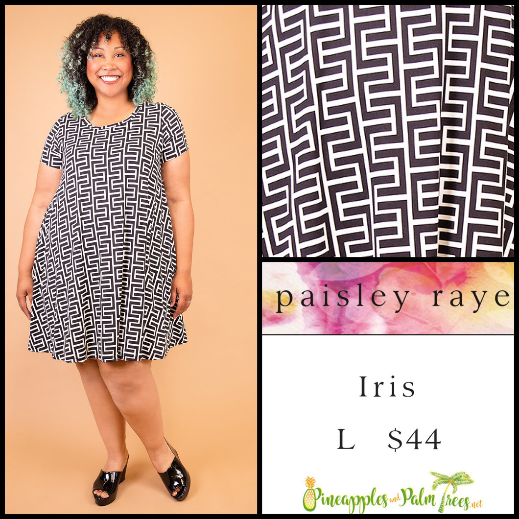 Paisley Raye Iris easy swing dress with scoop neck, pockets and keyhole back detail, L Black/white geometric pattern, shop this Paisley Raye Iris Dress and more at pineapplesandpalmtrees.net or locally in the Twelve Bridges Community of Lincoln, California