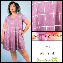 Load image into Gallery viewer, Paisley Raye Iris easy swing dress with scoop neck, pockets and keyhole back detail, M berry color with window pane pattern, shop this Paisley Raye Iris Dress and more at pineapplesandpalmtrees.net or locally in the Twelve Bridges Community of Lincoln, California
