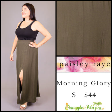 Paisley Raye Morning Glory Skirt, solid olive S, shop this Paisley Raye Morning Glory Skirt and more at pineapplesandpalmtrees.net or locally in the Twelve Bridges Community of Lincoln, California
