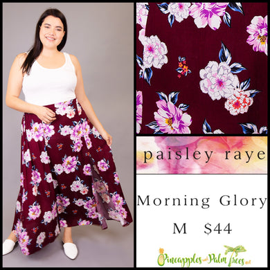 Paisley Raye Morning Glory Skirt, Maroon Floral, M, shop this Paisley Raye Morning Glory Skirt and more at pineapplesandpalmtrees.net or locally in the Twelve Bridges Community of Lincoln, California