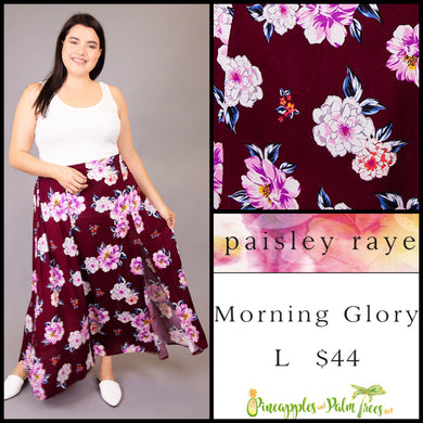 Paisley Raye Morning Glory Skirt, Maroon Floral, L, shop this Paisley Raye Morning Glory Skirt and more at pineapplesandpalmtrees.net or locally in the Twelve Bridges Community of Lincoln, California
