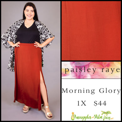 Paisley Raye Morning Glory Skirt, Burnt Orange solid 1X, shop this Paisley Raye Morning Glory Skirt and more at pineapplesandpalmtrees.net or locally in the Twelve Bridges Community of Lincoln, California