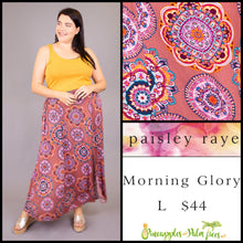Load image into Gallery viewer, Paisley Raye Morning Glory Skirt, Dusty Rose medallions, L, shop this Paisley Raye Morning Glory Skirt and more at pineapplesandpalmtrees.net or locally in the Twelve Bridges Community of Lincoln, California