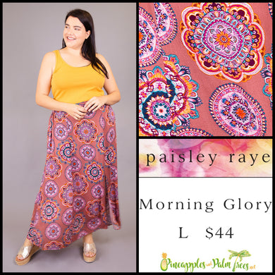 Paisley Raye Morning Glory Skirt, Dusty Rose medallions, L, shop this Paisley Raye Morning Glory Skirt and more at pineapplesandpalmtrees.net or locally in the Twelve Bridges Community of Lincoln, California