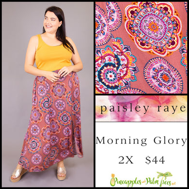 Paisley Raye Morning Glory Skirt, Dusty Rose medallions, 2X, shop this Paisley Raye Morning Glory Skirt and more at pineapplesandpalmtrees.net or locally in the Twelve Bridges Community of Lincoln, California