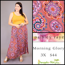 Load image into Gallery viewer, Paisley Raye Morning Glory Skirt, Dusty Rose medallions, 3X, shop this Paisley Raye Morning Glory Skirt and more at pineapplesandpalmtrees.net or locally in the Twelve Bridges Community of Lincoln, California