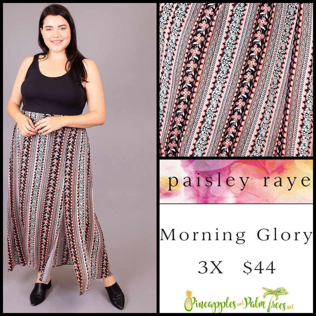 Paisley Raye Morning Glory Skirt, Multi colored floral stripes, 3X, shop this Paisley Raye Morning Glory Skirt and more at pineapplesandpalmtrees.net or locally in the Twelve Bridges Community of Lincoln, California