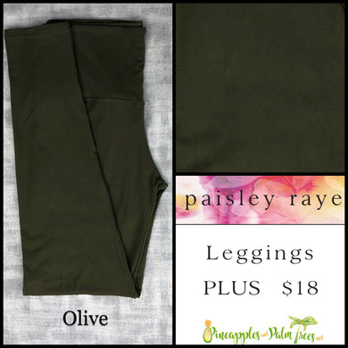 Paisley Raye limited edition leggings solid Olive in Plus, shop these Paisley Raye Leggings and more at pineapplesandpalmtrees.net or locally in the Twelve Bridges Community.Lincoln, California