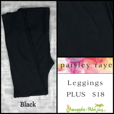 Paisley Raye limited edition leggings solid Black in Plus, shop these Paisley Raye Leggings and more at pineapplesandpalmtrees.net or locally in the Twelve Bridges Community.Lincoln, California