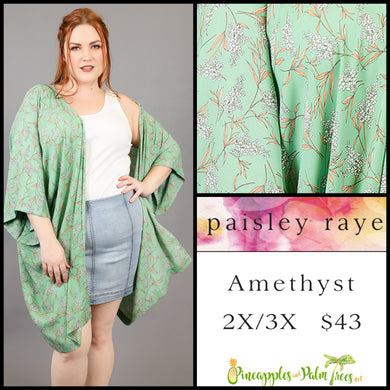 Paisley Raye Amethyst Kimono, 2X/3X Green Floral, shop this Paisley Raye Amethyst Kimono and more at pineapplesandpalmtrees.net or locally in the Twelve Bridges Community of Lincoln, California.