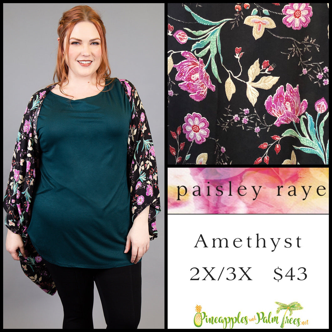 Paisley Raye Amethyst Kimono, 2X/3X black floral, shop this Paisley Raye Amethyst Kimono and more at pineapplesandpalmtrees.net or locally in the Twelve Bridges Community of Lincoln, California.