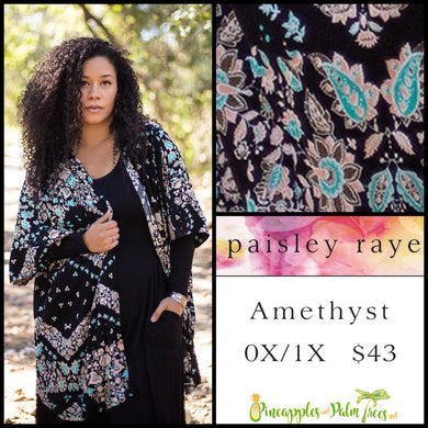 Paisley Raye Amethyst Kimono, 0X/1X Black multi colored chevron pattern, shop this Paisley Raye Amethyst Kimono and more at pineapplesandpalmtrees.net or locally in the Twelve Bridges Community of Lincoln, California.