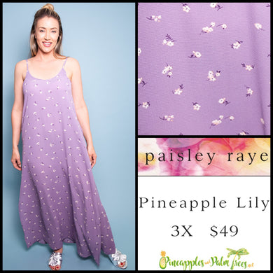 Paisley Raye Pineapple Lily Dress, 3X Lavender floral, shop this Paisley Raye Pineapple Lily Dress and more at pineapplesandpalmtrees.net or locally in Lincoln, California, in the Twelve Bridges Community.