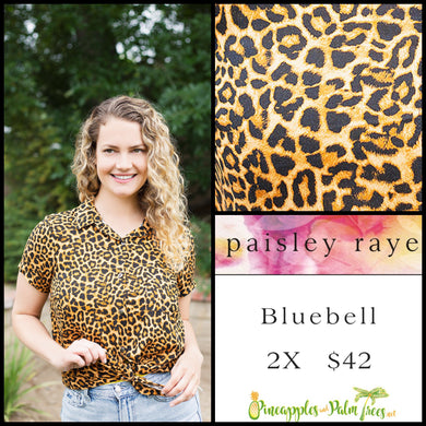 Paisley Raye Bluebell top, size M in black/brown Animal print. Shop this beautiful Paisley Raye Bluebell and more at pineapplesandpalmtrees.net or locally in the Twelve Bridges Community of Lincoln, California.