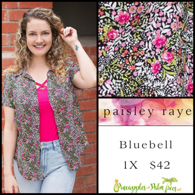 Paisley Raye Bluebell top, size 1X in Multi colored floral.  Shop this beautiful Paisley Raye Bluebell and more at pineapplesandpalmtrees.net or locally in the Twelve Bridges Community of Lincoln, California.