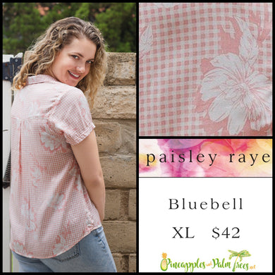 Paisley Raye Bluebell top, size XL in pink/white checkered floral. Shop this beautiful Paisley Raye Bluebell and more at pineapplesandpalmtrees.net or locally in the Twelve Bridges Community of Lincoln, California.