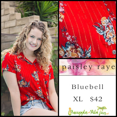 Paisley Raye Bluebell top, size XL in Red Floral. Shop this beautiful Paisley Raye Bluebell and more at pineapplesandpalmtrees.net or locally in the Twelve Bridges Community of Lincoln, California.