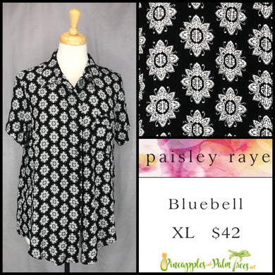 Paisley Raye Bluebell top, size XL in black floral medallions. Shop this beautiful Paisley Raye Bluebell and more at pineapplesandpalmtrees.net or locally in the Twelve Bridges Community of Lincoln, California.