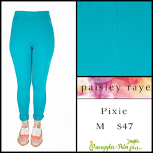 Load image into Gallery viewer, Paisley Raye Pixie Pant Solid Aqua, M, shop this Paisley Raye Pixie Pant and more at pineapplesandpalmtrees.net or locally in the Twelve Bridges Community of Lincoln, California.