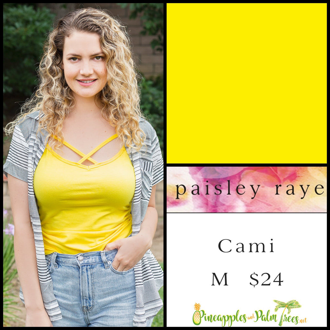 Paisley Raye Criss Cross Cami, solid Yellow in M, shop this Paisley Raye Crisscross Cami and more at pineapplesandpalmtrees.net or locally in Lincoln, California, in the Twelve Bridges Community.
