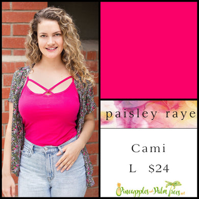 Paisley Raye Criss Cross Cami, solid Fuchsia in L, shop this Paisley Raye Crisscross Cami and more at pineapplesandpalmtrees.net or locally in Lincoln, California, in the Twelve Bridges Community.