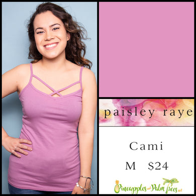 Paisley Raye Criss Cross Cami, solid Lavender in M, shop this Paisley Raye Crisscross Cami and more at pineapplesandpalmtrees.net or locally in Lincoln, California, in the Twelve Bridges Community.