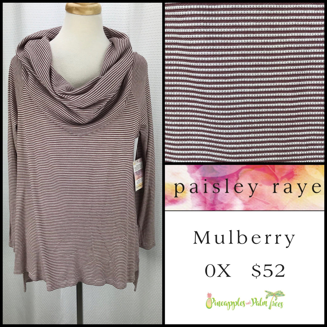 Paisley Raye Mulberry 0X Burgundy/White Stripes
