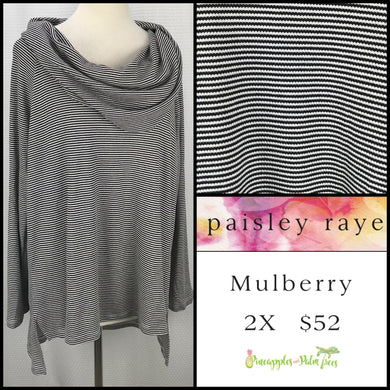 Paisley Raye Mulberry 2X Black/White Stripes