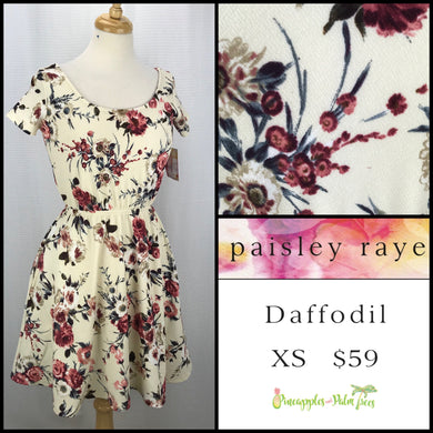 Paisley Raye Daffodil Dress XS Ivory Floral, shop this Paisley Raye Daffodil dress and more at pineapplesandpalmtrees.net or locally in the Twelve Bridges Community.Lincoln, California,