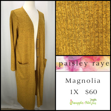 Paisley Raye Magnolia 1X mustard/brow  mottled, shop this Paisley Raye Magnolia Cardigan and more at pineapplesandpalmtrees.net or locally in the Twelve Bridges Community of Lincoln, California.