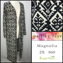 Load image into Gallery viewer, Paisley Raye Magnolia 2X Ivory/Black with Diamond print, shop this Paisley Raye Magnolia Cardigan and more at pineapplesandpalmtrees.net or locally in the Twelve Bridges Community of Lincoln, California.