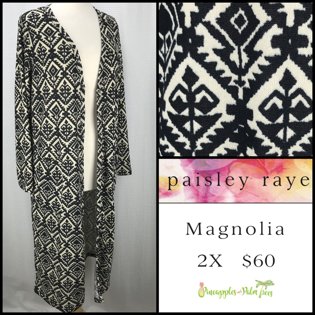 Paisley Raye Magnolia 2X Ivory/Black with Diamond print, shop this Paisley Raye Magnolia Cardigan and more at pineapplesandpalmtrees.net or locally in the Twelve Bridges Community of Lincoln, California.