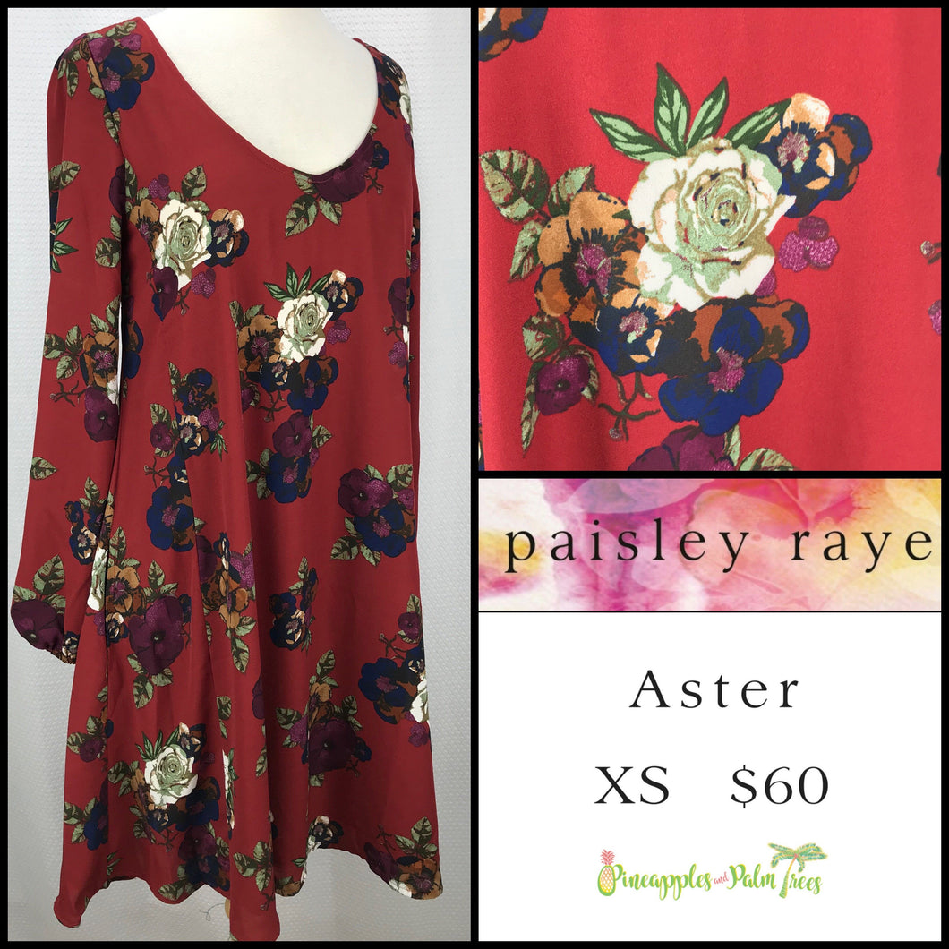 Paisley Raye Aster XS Brick Red Floral,d shop the Paisley Raye Aster dress at pineapplesandpalmtrees.net or locally in Lincoln, California, in the Twelve Bridges Community.