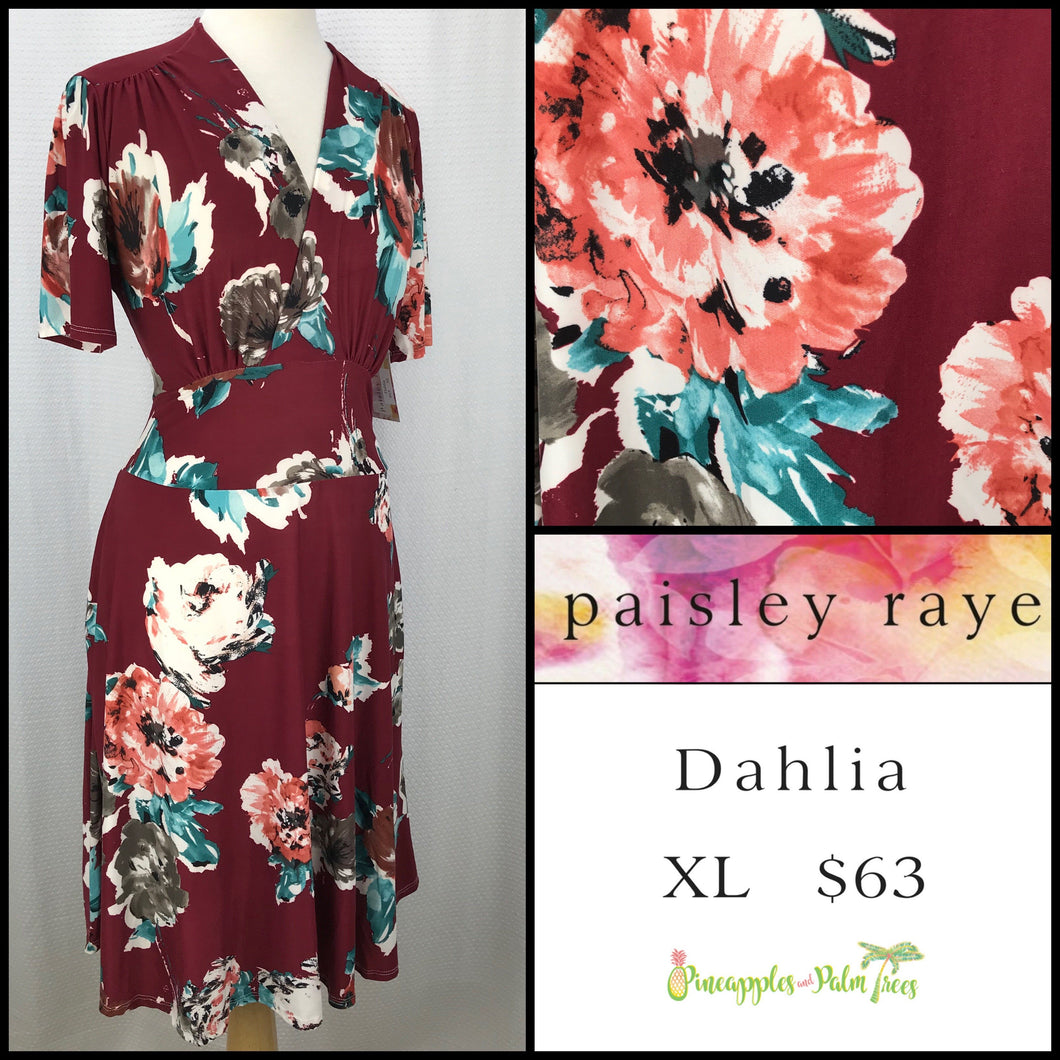 Paisley Raye Dahlia dress in XL Burgundy Floral, shop these Paisley Raye Dahlia Dresses and more at pineapplesandpalmtrees.net or locally in the Twelve Bridges Community of .Lincoln, California.