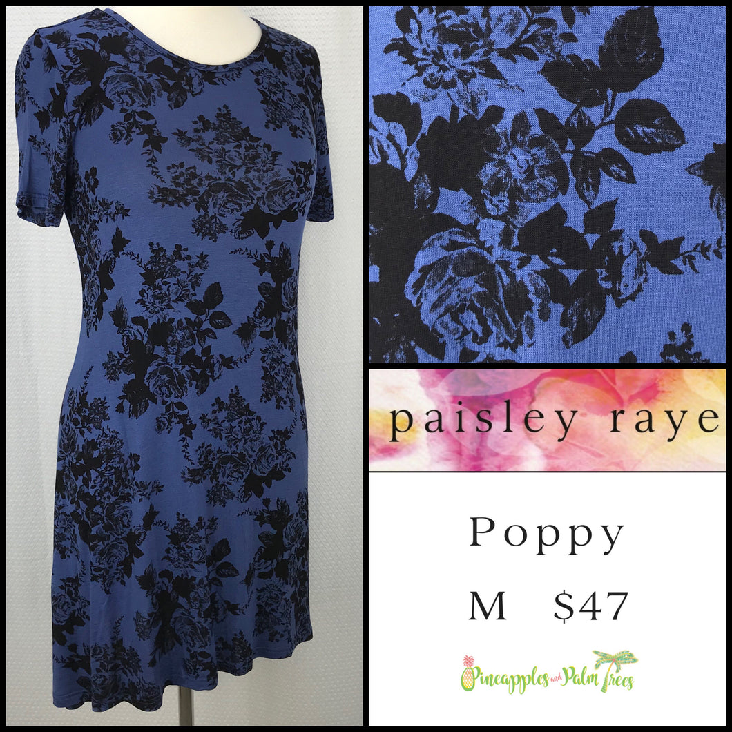 Paisley Raye Poppy Dress, Blue floral M, shop this Paisley Raye Poppy Dress and more at pineapplesandpalmtrees.net or locally in the Twelve Bridges Community of Lincoln, California.