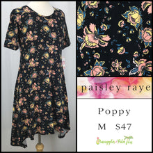 Load image into Gallery viewer, Paisley Raye Poppy Dress, M Black Floral, shop this Paisley Raye Poppy Dress and more at pineapplesandpalmtrees.net or locally in the Twelve Bridges Community of Lincoln, California.