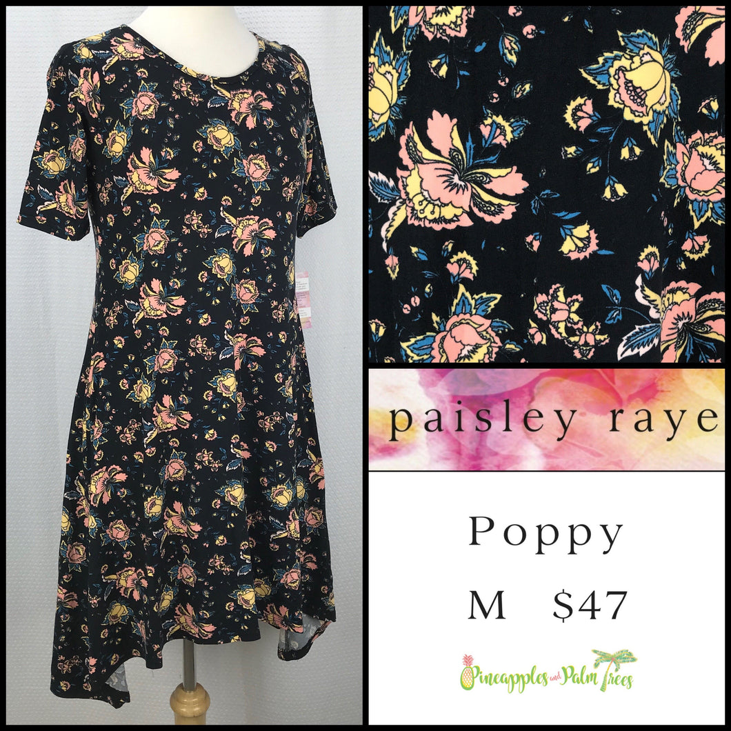 Paisley Raye Poppy Dress, M Black Floral, shop this Paisley Raye Poppy Dress and more at pineapplesandpalmtrees.net or locally in the Twelve Bridges Community of Lincoln, California.