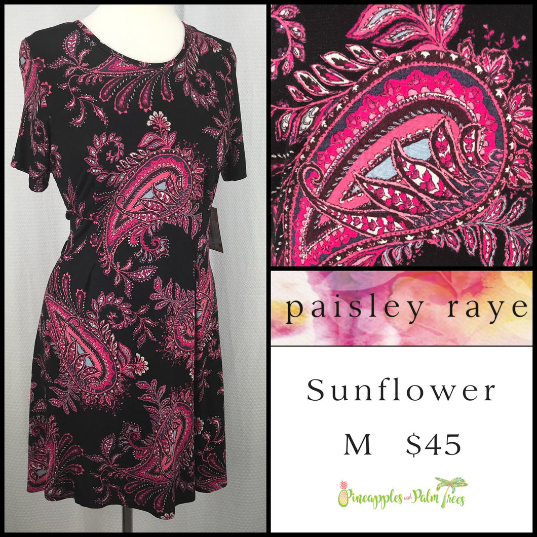 Paisley Raye Sunflower top Paisley Black/Pink M, shop this Paisley Raye Sunflower Top and more at pineapplesandpalmtrees.net or locally in the Twelve Bridges Community of Lincoln, California.