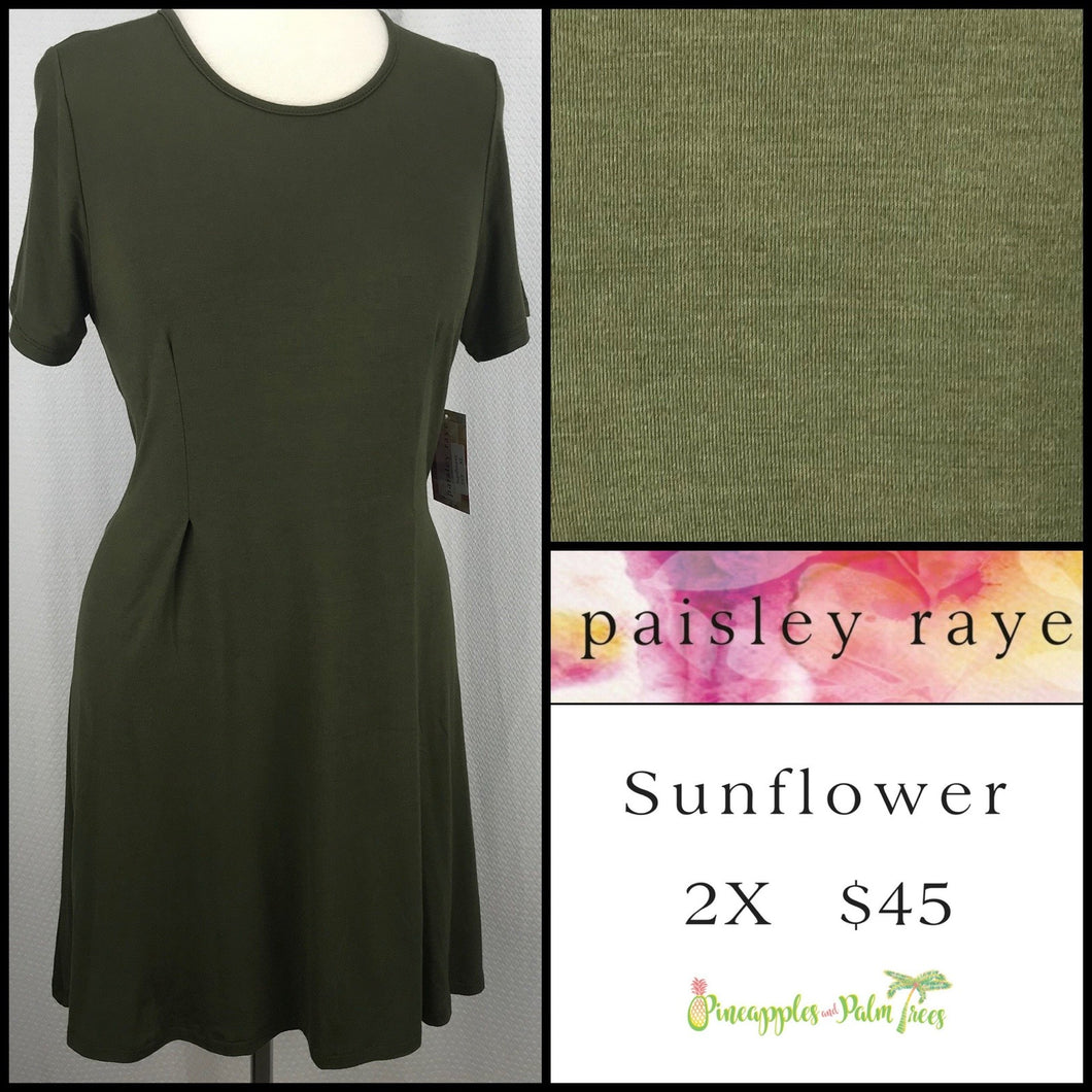 Paisley Raye Sunflower top solid Olive 2X, shop this Paisley Raye Sunflower Top and more at pineapplesandpalmtrees.net or locally in the Twelve Bridges Community of Lincoln, California.